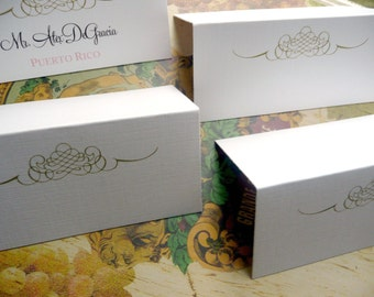 Tented Flourish Placecards in White or Cream - Blank Set of 100