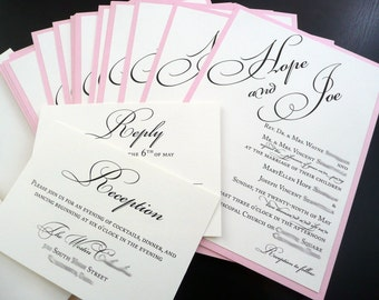 "Elegant Script Wedding Invitations / Pink and Cream / Formal Wedding Invites / ""Hope""  Invitation Sample"