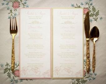 Vintage Wedding Menus / Gold Wedding Menus /Pink and Gold Menu / Floral Menus / Pink Orchid Sample Menu, As Seen on The Wedding Chicks Blog