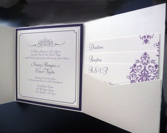 Champagne Wedding Invitation / Purple and Dark Purple / Pocketfold Wedding Invitation / Champagne Damask Invite Sample