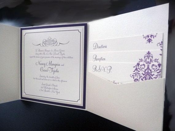 Champagne Wedding Invitation / Purple and Dark Purple / Pocketfold Wedding Invitation / Champagne Damask Invite Sample