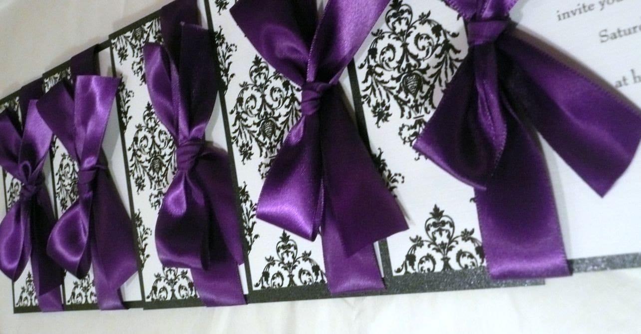 dark purple damask wedding invitation damask wedding invitations zoom