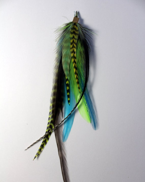 Green Goddess - Long Feather Hair Extension on Microbead