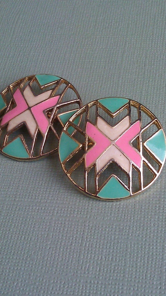 Vintage Tribal Circle Clip-on Earrings