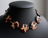 Leopard Print Beaded Necklace with Black Crystals - One of a Kind