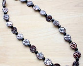 Long Leopard Print Beaded Necklace with Crystals