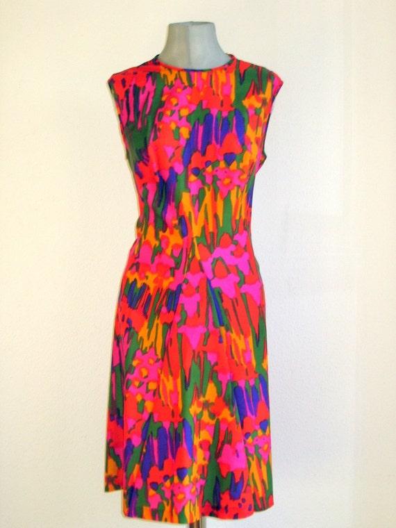 70s  british vintage Windsmoor, psychedelic print dress
