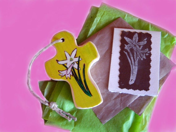 Small Folk Art Wood Cross, Wood Burned, Hand Painted, Dance in the Rain, with Card , Gift Wrap