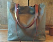 SALE New Vintage Leather Bottomed Canvas Carryall - No. 4
