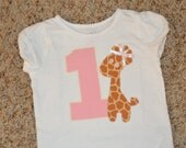 Giraffe birthday shirt -- Sophie inspired -- any color  scheme for boys or girls