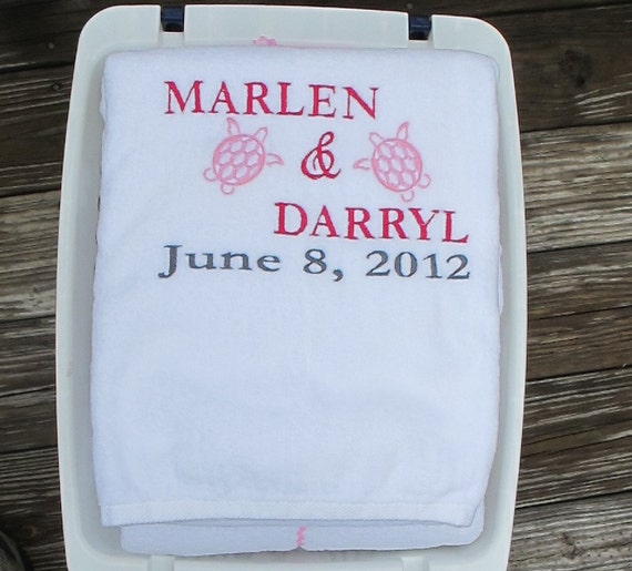 Beach Blanket Date: 2 Personalized Beach Towels With Wedding Date Wedding Or
