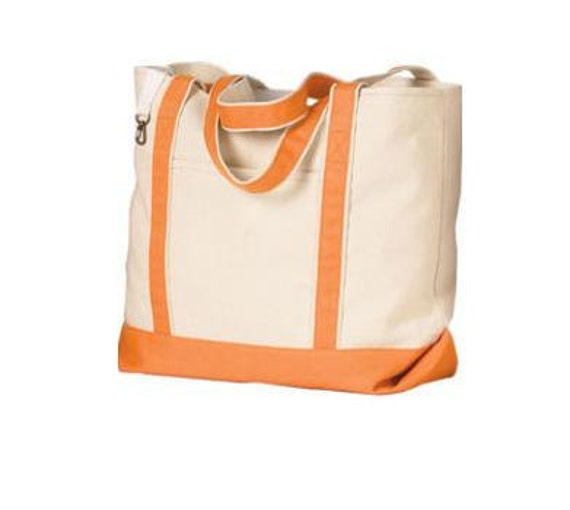 Personalized Beach Tote Bag - Bridesmaid or Wedding Gift - Orange and Natural Canvas Tote Bag