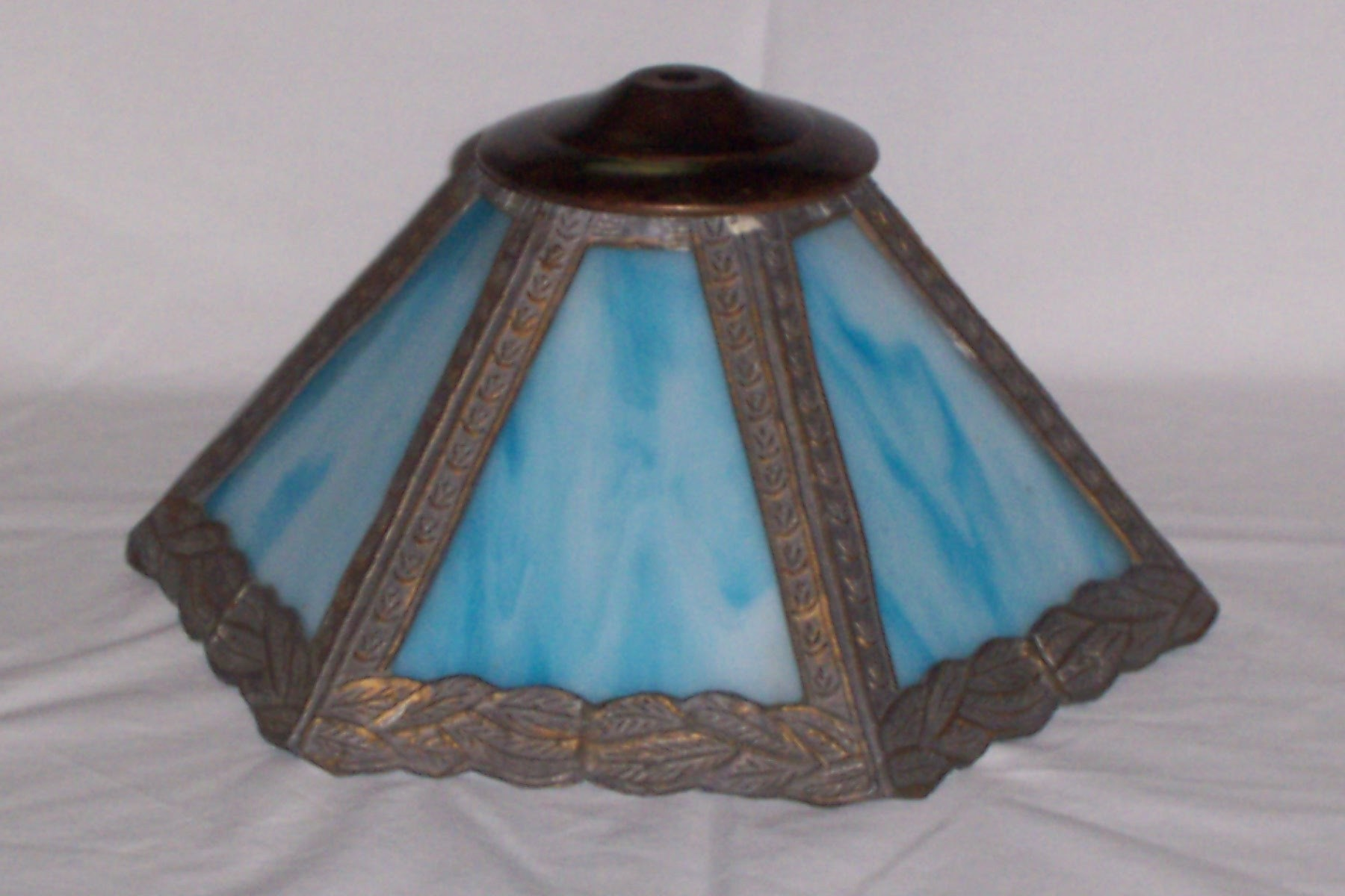 blue slag glass lamp shade art deco art nouveau. Black Bedroom Furniture Sets. Home Design Ideas