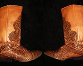 Henna Mehndi Burned Leather Cowboy Lariat Leather Boots Women's size 8