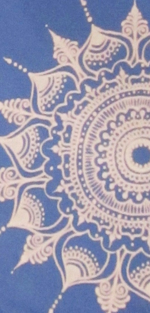 Croft & Barrow Tee Shirt, periwinkle, size L, embellished by hand with a bleached mandala design