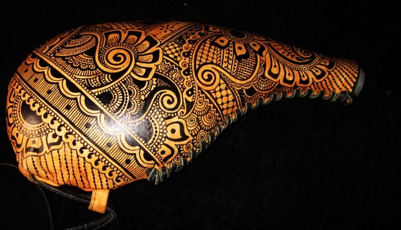 RESERVED for Arahima:   Leather Case water bottle with henna mehndi tribal hand-painted design - functional