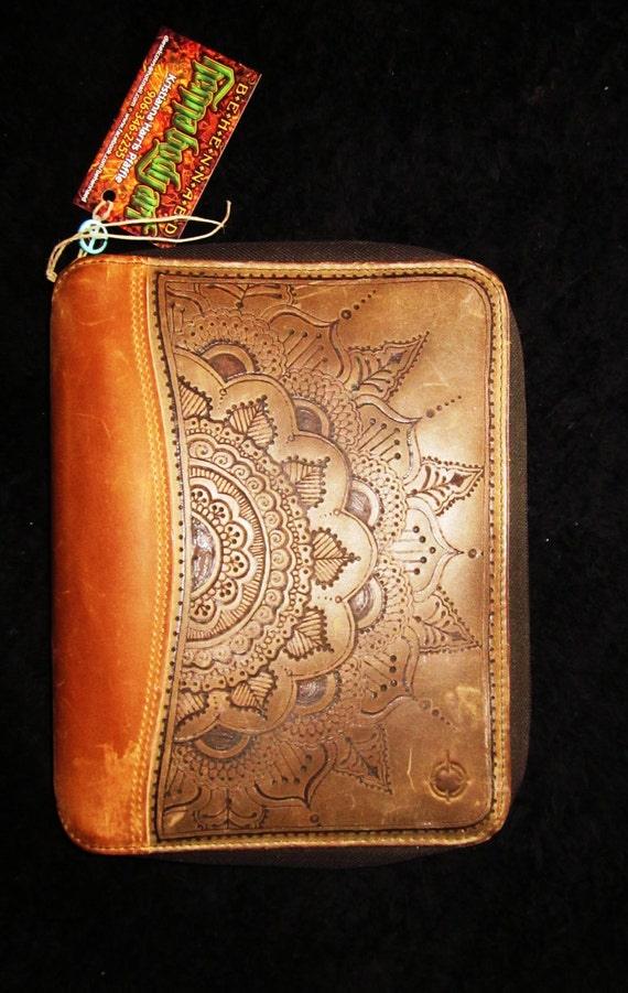 Mehndi Hands Cover Photos : Franklin quest leather planner cover hand burned henna mehndi