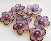 Set  of Seven Purple Flowers - Handmade Ceramic Mosaic Art Tiles
