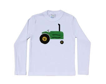 Hand-made Tractor, john deer Tee, Onsie or toddler shirt. Felt tractor applique, baby gift, Farm theme nursery or birthday party