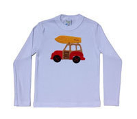 Woody with surf board  eco-applique kids tee