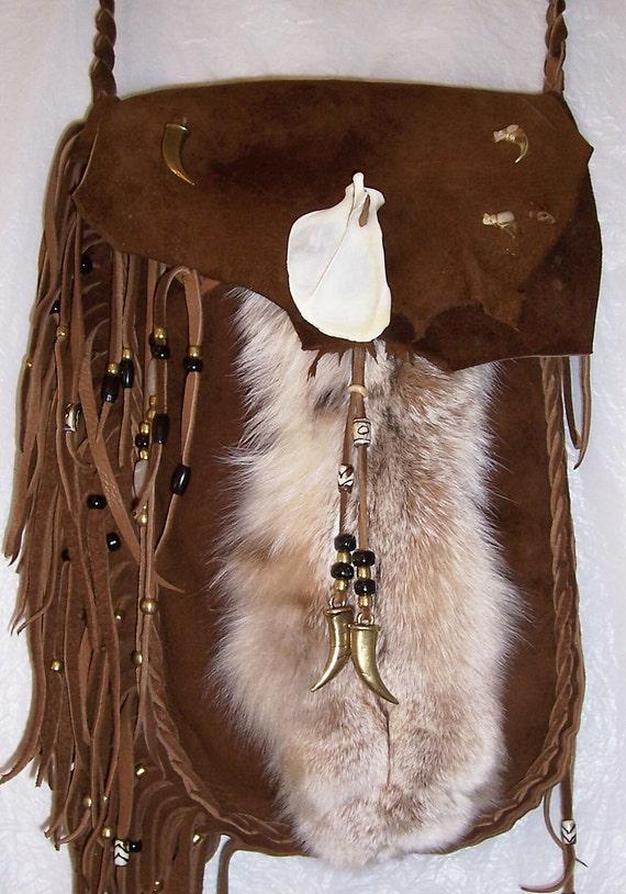 Leather possibles bag Lynx paw saddletan deerskin bone claws leg fur suede out OOAK HANDMADE mountain man rendezvous purse