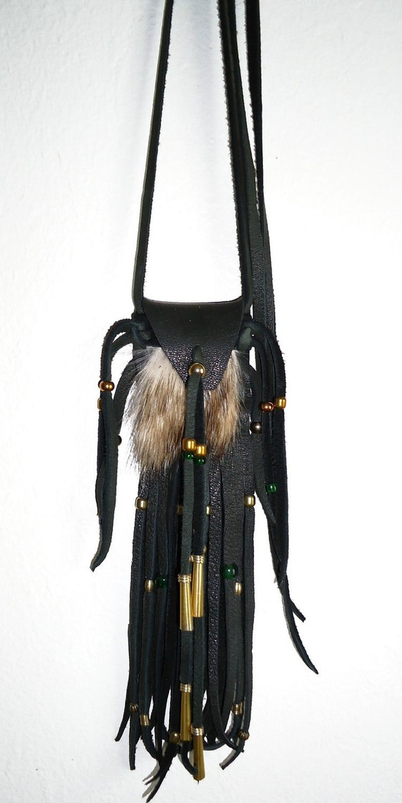 Green deerskin leather and badger fur neck pouch medicine bag mountain man rendezvous pow wow regalia totem