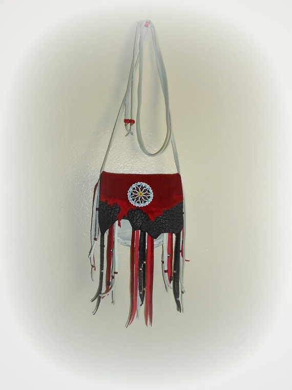 Deerskin elk leather medicine bag red white black beaded rosette