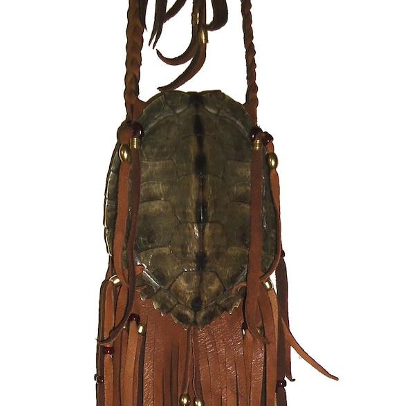 4 inch Mississippi River Map turtle shell hand made medicine bag totem