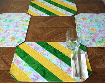 Placemats - Lemon Lime Butterfly (Set of 4), Reversible