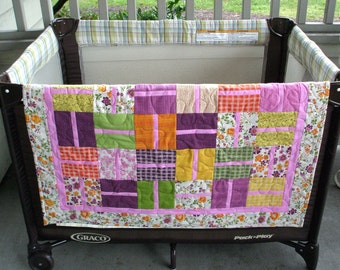 "Quilt - Floral Print In Pink, Plum, Lime Green, Yellow and Orange, 33"" x 33"""