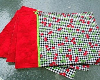 Placemats - Cherries All Over (Set of 4), Reversable