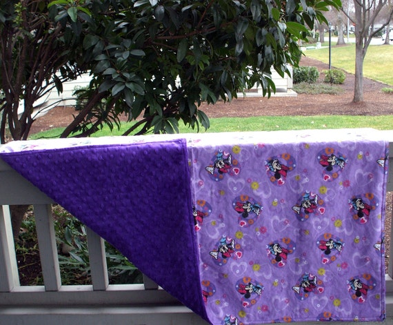 """Baby Blanket - Minnie Mouse on Purple Flannel with Purple Dimple Minky, 29"""" X 35"""""""