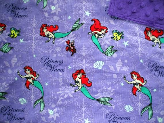 "Baby Blanket - Princess Ariel on Purple Corduroy with Royal Purple Dimple Minky, 30"" X 36"""