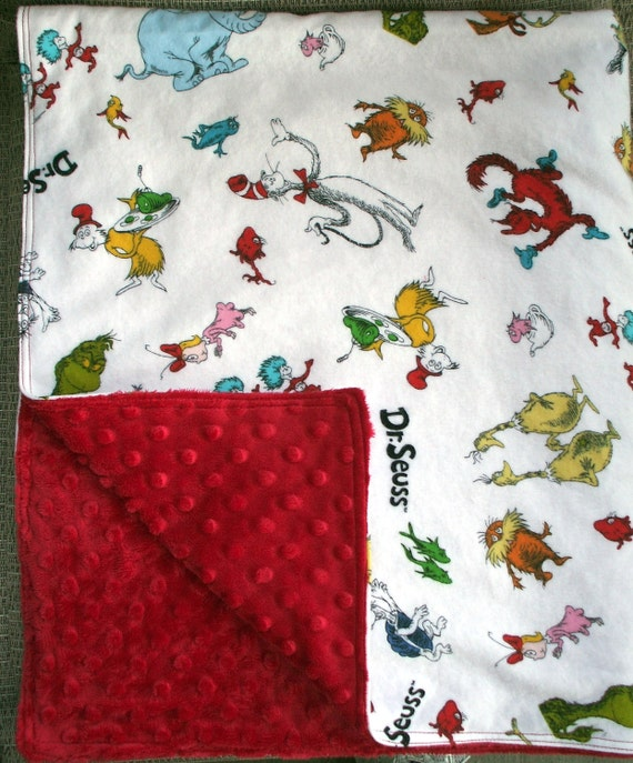 Baby Blanket - Dr. Seuss Flannel and Bright Red Dimple Minky