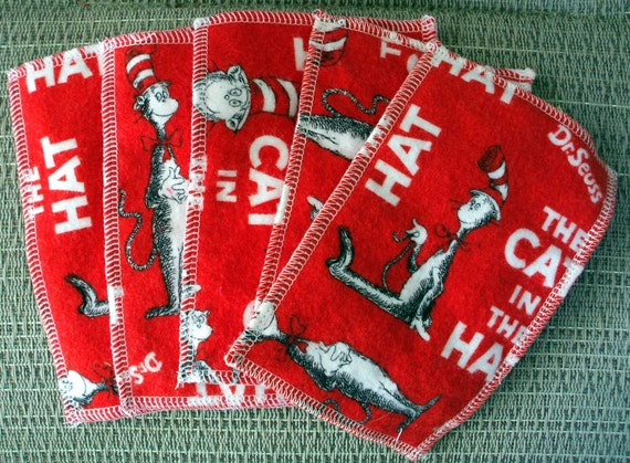 Kids Reusable Wipes - Dr. Seuss Hanky with Red Dimple Minky (set of 5)