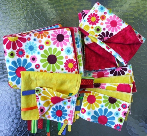 """Baby Girl Gift Set - Flower Power Minky with Red or Yellow Flannel, (1) Blanket 29"""" X 35"""", (2) Burp Towels, (1) Lovey, (5) Swipers"""