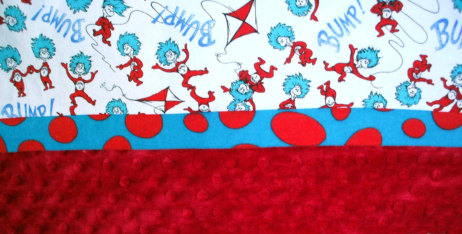 Pillowcase Dr Seuss Thing 1 And Thing 2 On White Cotton