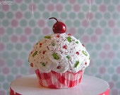 Mini Christmas Cupcake Ornament Red Plaid