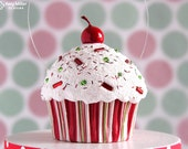 Cupcake Ornament / Christmas Ornament - Mini Christmas Stripe #CUP125