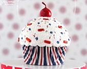 Red White and Blue Stripe Mini Fake Cupcake Decoration #CUP172