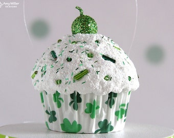 Mini Cupcake Ornament Green Shamrocks - St. Patrick's Day Decoration #CUP160