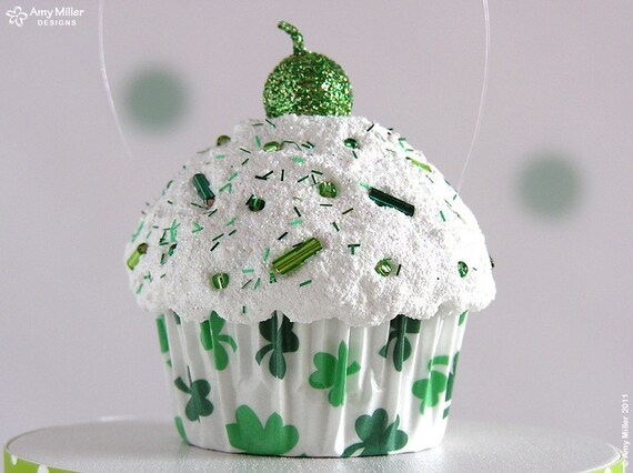 Mini Cupcake Ornament Green Shamrocks - St. Patrick's Day Decoration #CUP160