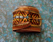 1960s 1970s  Hippie Folk Woodstock Fabric Belt Browns and yellows  L XL