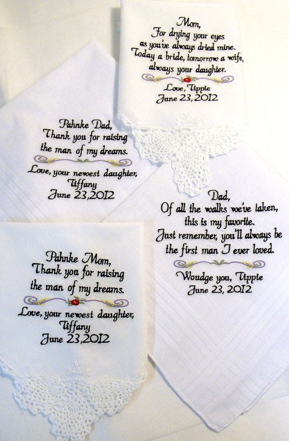 Embroidered Wedding Handkerchiefs Personalized Set Of 4