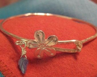 Cherry Blossom Bangle Bracelet Sterling Silver Hook Closure Sapphire JJDLJewelryArt
