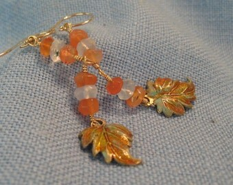 Leaf Earring Carnelian Blue Quartz Dangle 14k Gold Fill Enamel JJDLJewelryArt