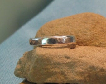 Organic Wedding Band Silver Mens Plus Size Ring Freeform Rustic JJDLJewelryArt