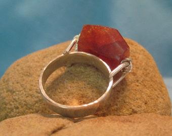 Mandarin Garnet Ring Sterling Silver Chunky Tangerine Orange Artisan JJDLJewelryArt