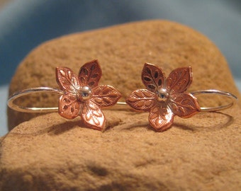 Copper Flower Earring Silver Mixed Metal Embossed Daisy Dangle JJDLJewelryArt