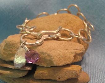 Sterling Silver Chain Bracelet Heavy Link Charm Amethyst Nugget  JJDLJewelryArt